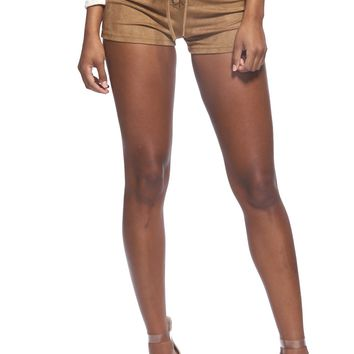 Faux Suede Self-Tie Lace-Up Shorts