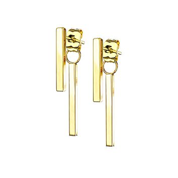 Raise The Bar In Gold - Classic Stainless Steel IP Gold Bar Earrings