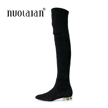Women Over The Knee Boots Suede Thigh High Boots 2017 Autumn Winter Ladies Fashion Fur Warm Chunky Heel Boots Snow Shoes Woman