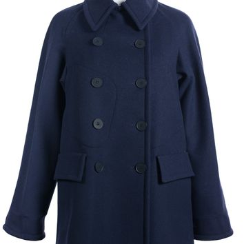 Stella McCartney Women Navy Wool Blend Double Breasted Peacoat