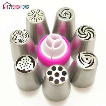 7PCS Russian Decorating Tips Tulip Icing Piping Nozzle + 1 Adaptor Converter Pastry Wedding Cake Cupcake Decoration Baking Tool