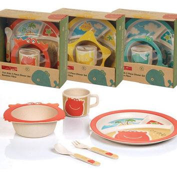 Baby Kids Children Bamboo Fiber Tableware Set Dinnerware Learnning Dishes Cup Assist Food Bowl + Fork Spoon Perfect 5 Pcs/Set