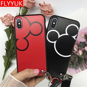 Cartoon Lovers white Mickey Mouse Minnie Black PU Leather phone Case For iPhone 8 8plus 7 6 6s plus Back Cover for iPhone 7Plus