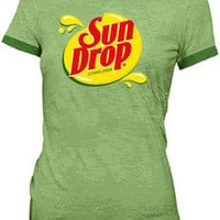 Juniors Sun Drop It Hot Sundrop Citrus Soda Green Commercial Costume T-Shirt Tee