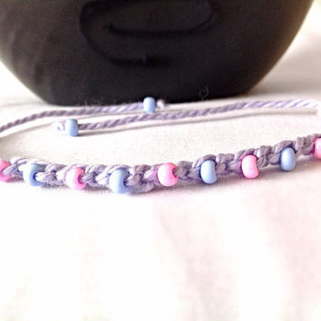 Crocheted beaded bracelet child girls gift custom made