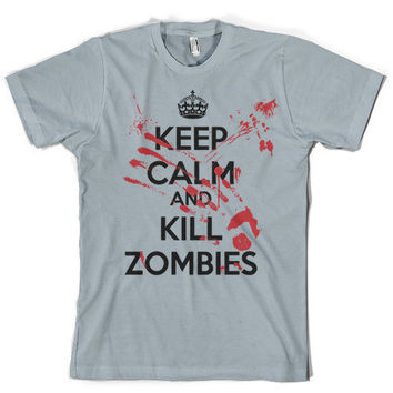 Funny Keep Calm Kill Zombies shirt spooky by CrazyDogTshirts