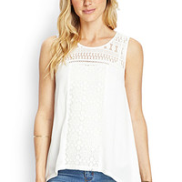 LOVE 21 Asymmetric Crochet Keyhole Top Ivory