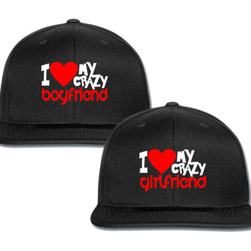 i love my crazy gf bf couple matching snapback cap