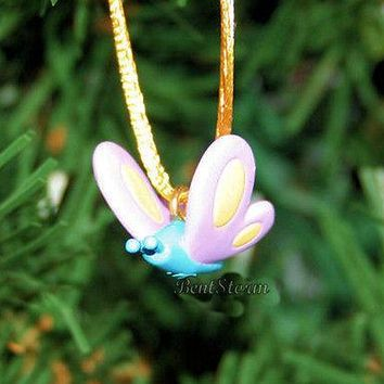 """Licensed cool NEW CUTE BLUE BODY PINK WINGS Butterfly MINI Christmas Ornament PVC 3/4""""x3/4"""""""