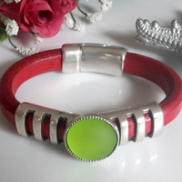 Red Licorice Leather Bracelet with Open Bar Silver Accents and Lime Green Moonglow Cabochon