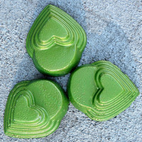 Green heart planter feet,  patio decor, Yard art, Concrete pot feet, Heart shaped planter feet, Green feet