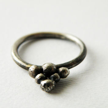Sterling Silver Ring Oxidized Minimalist Grape Ancient Roman God Ring Handmade Jewelry by SteamyLab