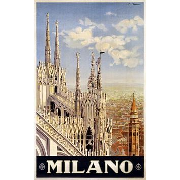 Italy Milano 1920 poster Metal Sign Wall Art 8in x 12in