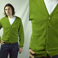 Vinage 60s Seattle Made Olive Green Button Up Garage Rock Sweater