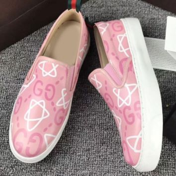 Gucci Fashion Casual Women Men Design Loafer Shoes Flat Shoes Print Pink G