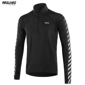 ARSUXEO Men's Outdoor Sports Dry Fit Running Shirts Long Sleeve Elastic Half- Zipper Shirts Running Clothing Reflective 18T6