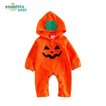 Winter Baby Rompers Hooded Costume Infant Girls Boys Cotton Gift Newborn Halloween Pumpkin Jumpsuits Cartoon Children's Clothing