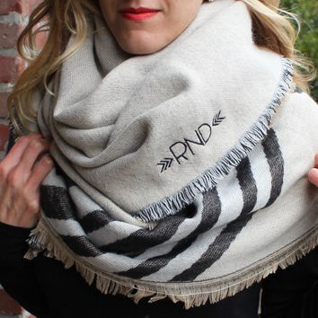 Monogrammed Blanket Scarf - Neutral Stripes