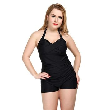 One Piece Solid Swimwear Boyshorts Bodysuit Women Strappy Monokini 2017 Large Size Swimsuit Slimming Pleated Bathing Suit