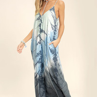 Crashing Waves Blue Tie-Dye Maxi Dress