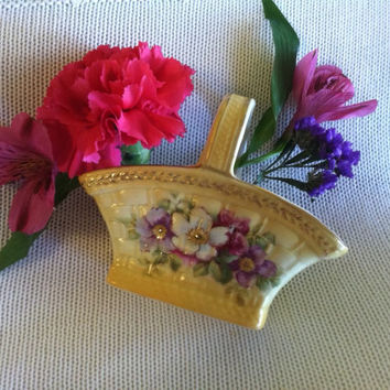 Yellow Flowered Porcelain Basket Vintage Hand Painted Floral Design With Pink and Purple Flowers Small Easter Basket Woodland Home Decor