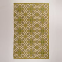 5'X8' GREEN ARABESQUE JUTE AND COTTON RUG