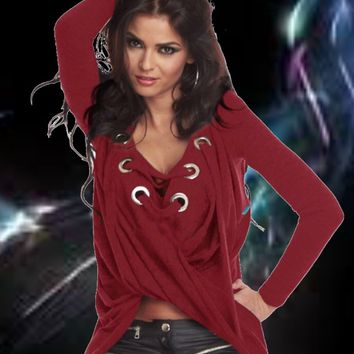 Crimson Red  lace up Pullover  shirt