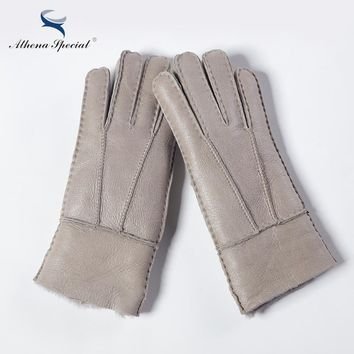 Multi Color Heavy Type Women Real Leather Wool Fur Gloves Lovely Girls Sheepskin Leather Fur Gloves Very Warming