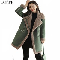 LXMSTH 2017 Winter New Womens Long Suede Coat With Fur Collar Thickening Warm Parkas Female Cotton Padded Women Wadded jacket