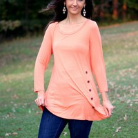 Emerald Tangerine Color Tunic Top with Buttons on Side Hem