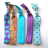 Fashion hair ties, no damage elastics, ponytail hair bands, Gentle fabric elastics, knotted hair ties