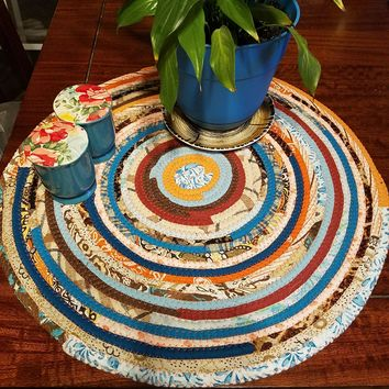 Made to Order! Red Gypsy Bohemian Custom Table Mats, Round, Handmade, You Choose Size & Color