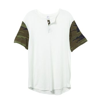 Alternative Apparel - Home Run Printed Eco-Jersey Henley Eco Ivory Camouflage Green T-shirt