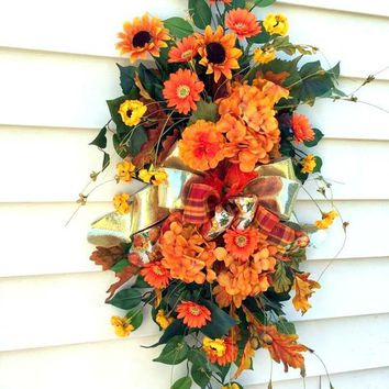 Hydrangea wreath, Fall door swags, front door wreath, Sunflower wreath, teardrop swags, hydrangea swags, Autumn swags, vertical swags,