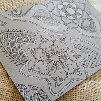 Zentangle Inspired Line Drawing, Original Drawing, Mandala Inspired Line Drawing, Henna Inspired Sketch, Zentangle Doodle, Botanical Drawing