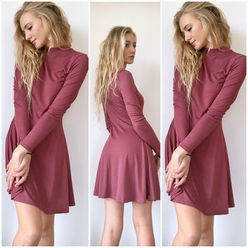 High Neck Tee Shirt Dress in Mauve