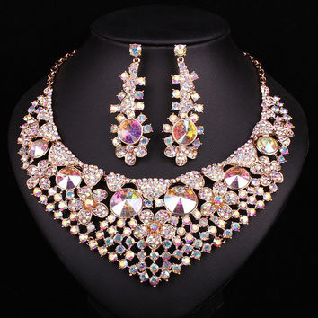 New Big Chunky Bridal Necklace Earring Set