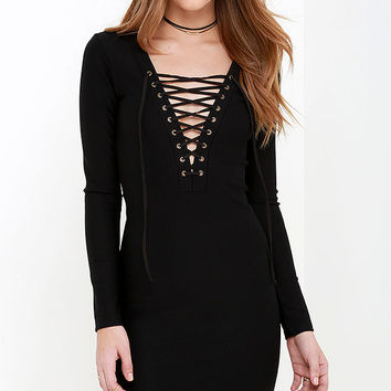 What a Rush Black Lace-Up Bodycon Dress