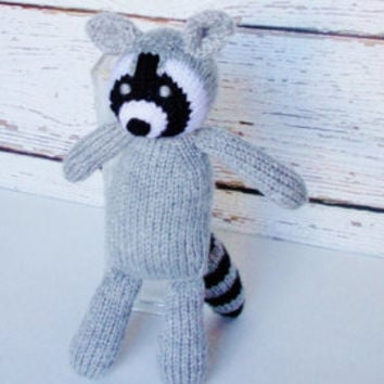 "Hand Knit Gray Raccoon, Woodland Stuffed Animal, Baby Nursery Toy, Ready To Ship, Raccoon Doll, Handmade Knit toy, Toddler Gift 11"" Tall"