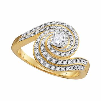 10kt Yellow Gold Womens Round Diamond Solitaire Swirl Bridal Wedding Engagement Ring 1/2 Cttw
