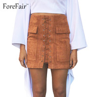 Leather Women Skirt Pink Classic Vintage All-Match Bandage Suede Skirt High Waist