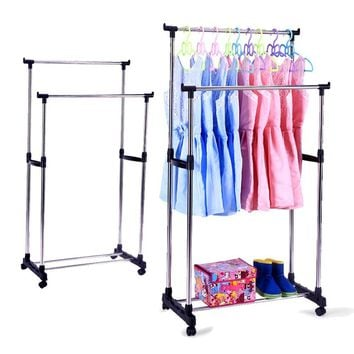 Portable Double Rods Rolling Rack