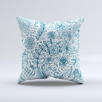 Subtle Blue Sketched Lace Pattern V21 Ink-Fuzed Decorative Throw Pillow