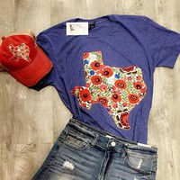 Heather Blue Floral Texas T-Shirt