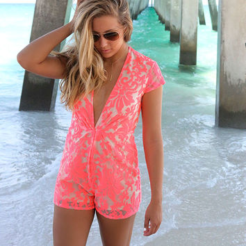 Cruise Fever Neon Pink Floral Textured Deep-V Romper