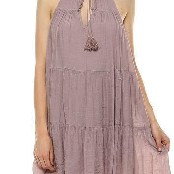 Teeze Me | Sleeveless Halter High Neck Front Tie Ruffle Trapeze Dress  | Mauve