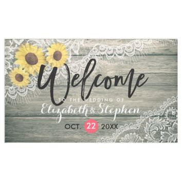 Rustic Wood Sunflowers Lace Wedding Welcome Banner