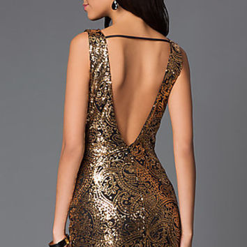 Short Open Back Gold Sequin Homecoming Dress SY-D20273V
