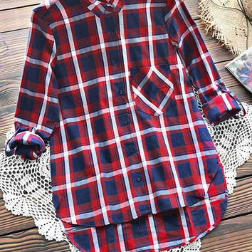 Cupshe Red Ocean Plaid Shirt