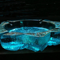 Vintage Party Blenko Turquoise/Peacock  ART GLASS footed ashtray